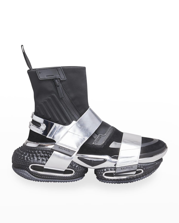 Men's B-Bold Metallic Double-Grip Strap High-Top Sneakers