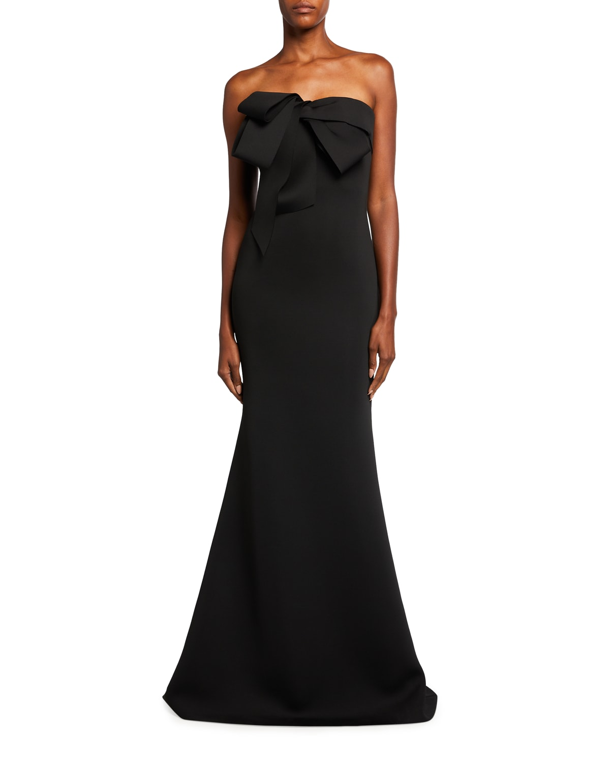 Looped Bow Bustier Scuba Mermaid Gown