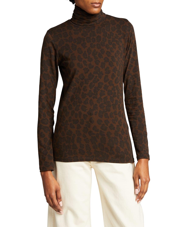 Cotton-Cashmere Leopard-Print Turtleneck Top