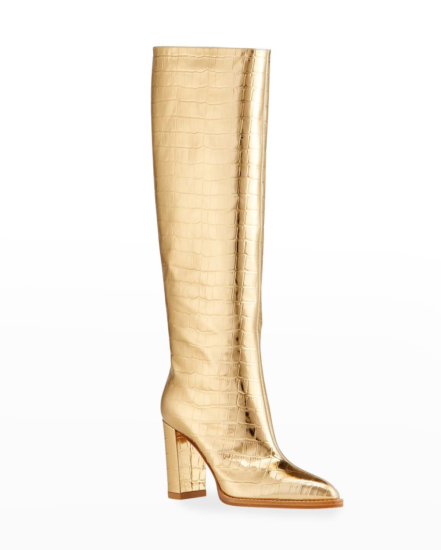 Metallic Mock-Croc Knee Boots