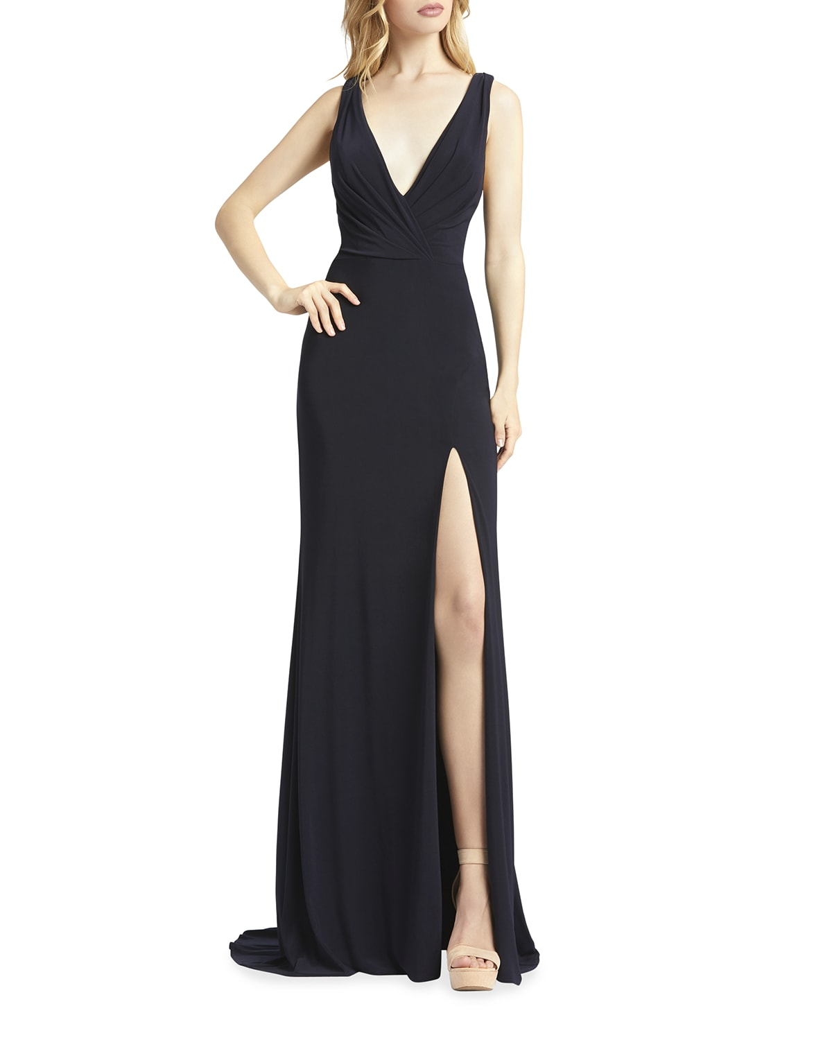 V-Neck Sleeveless Jersey Column Gown with Thigh Slit