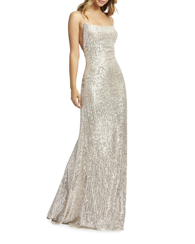 Sequin Corset-Back Sleeveless Column Gown