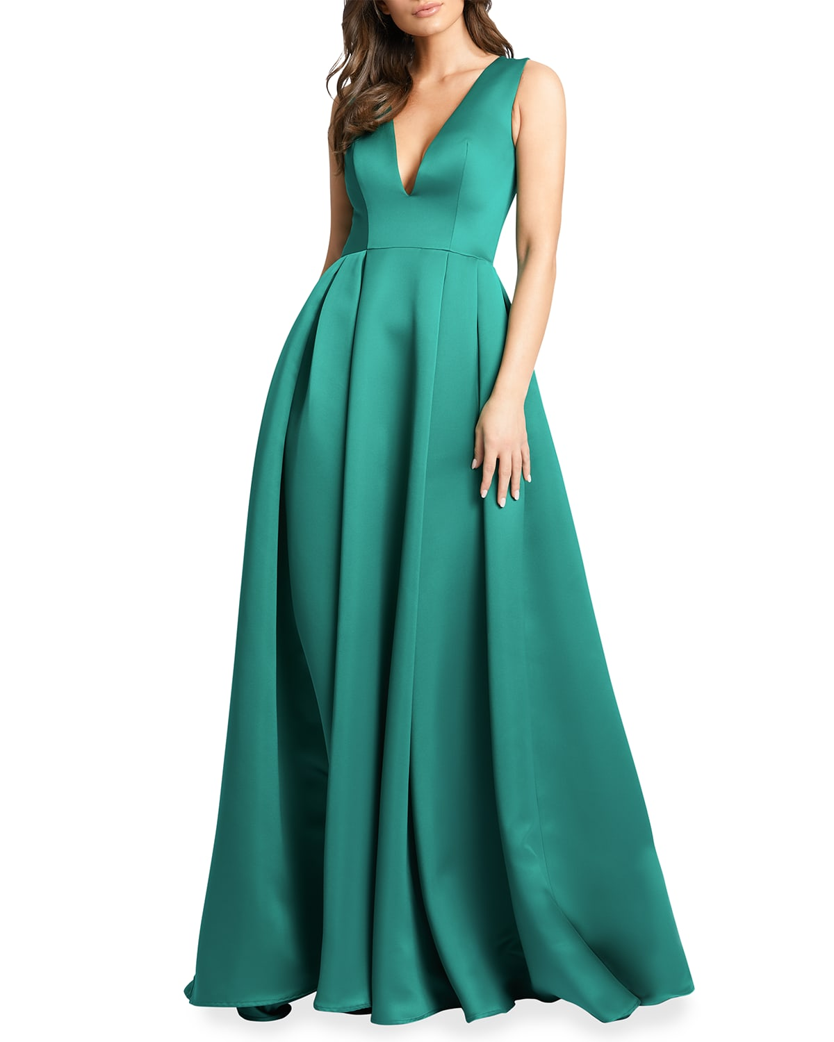 Plunging V-Neck Box-Pleated Satin A-Line Gown