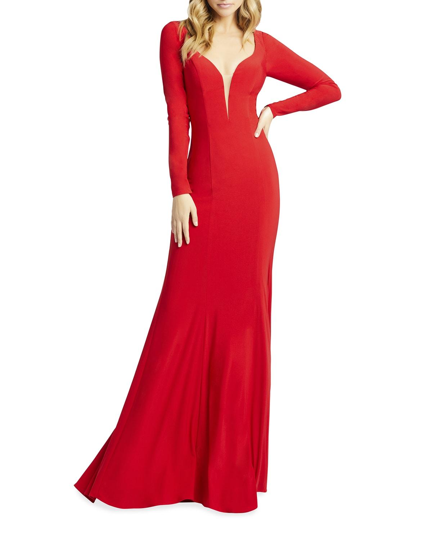 Queen Anne Long-Sleeve Jersey Sheath Gown