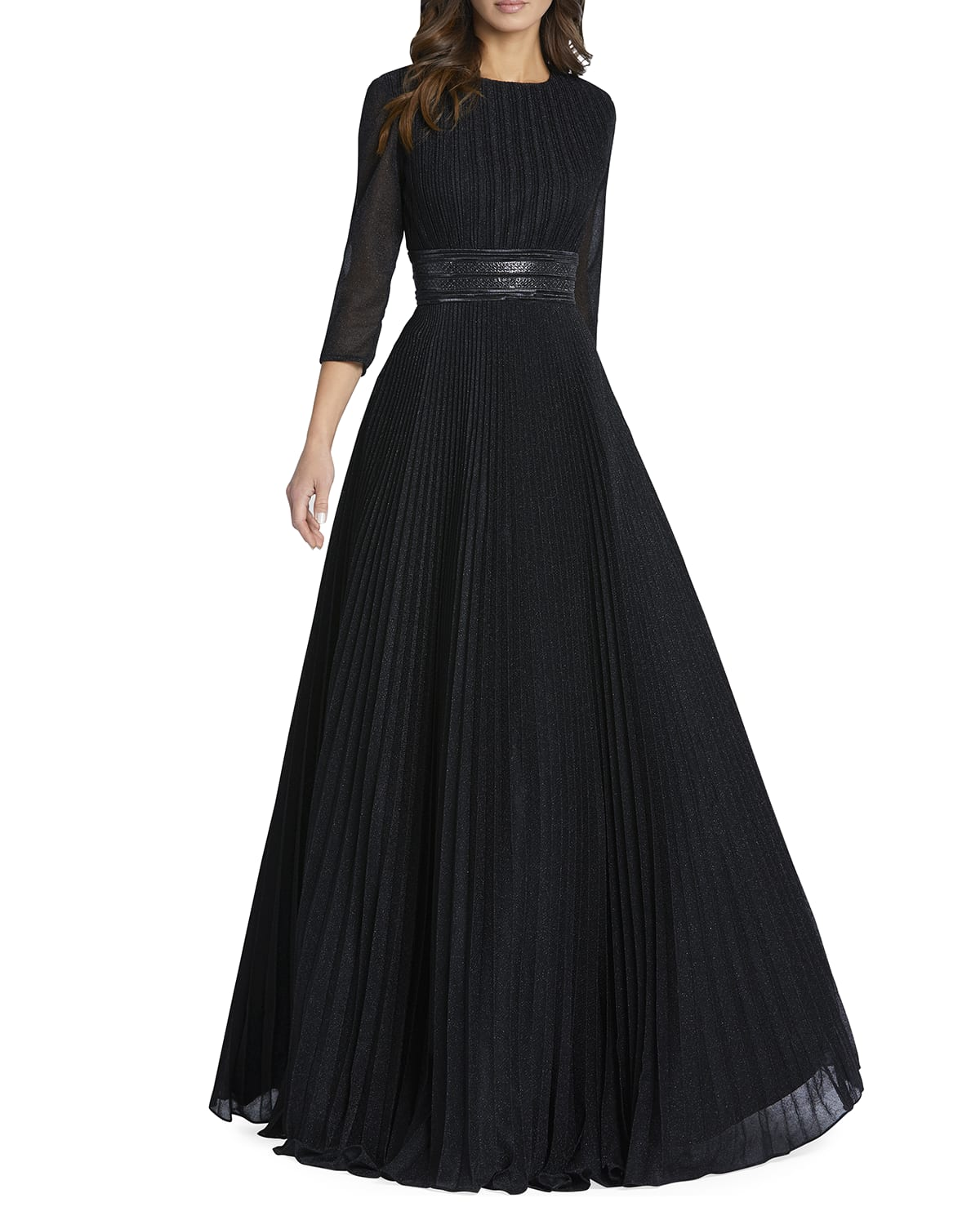 Sparkly Pleated A-Line Gown