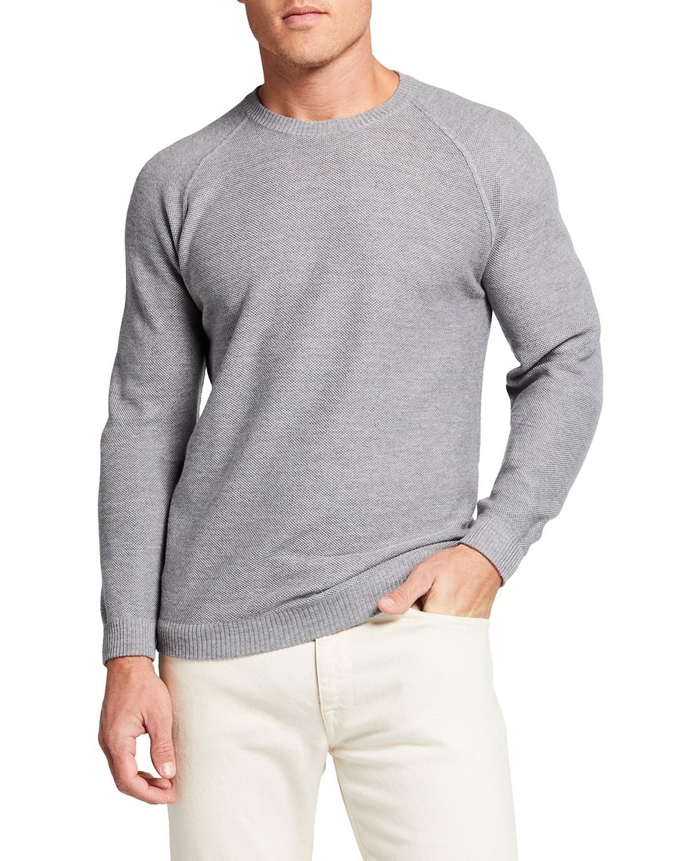 Men's Solid Wool Crewneck Long-Sleeve Sweater