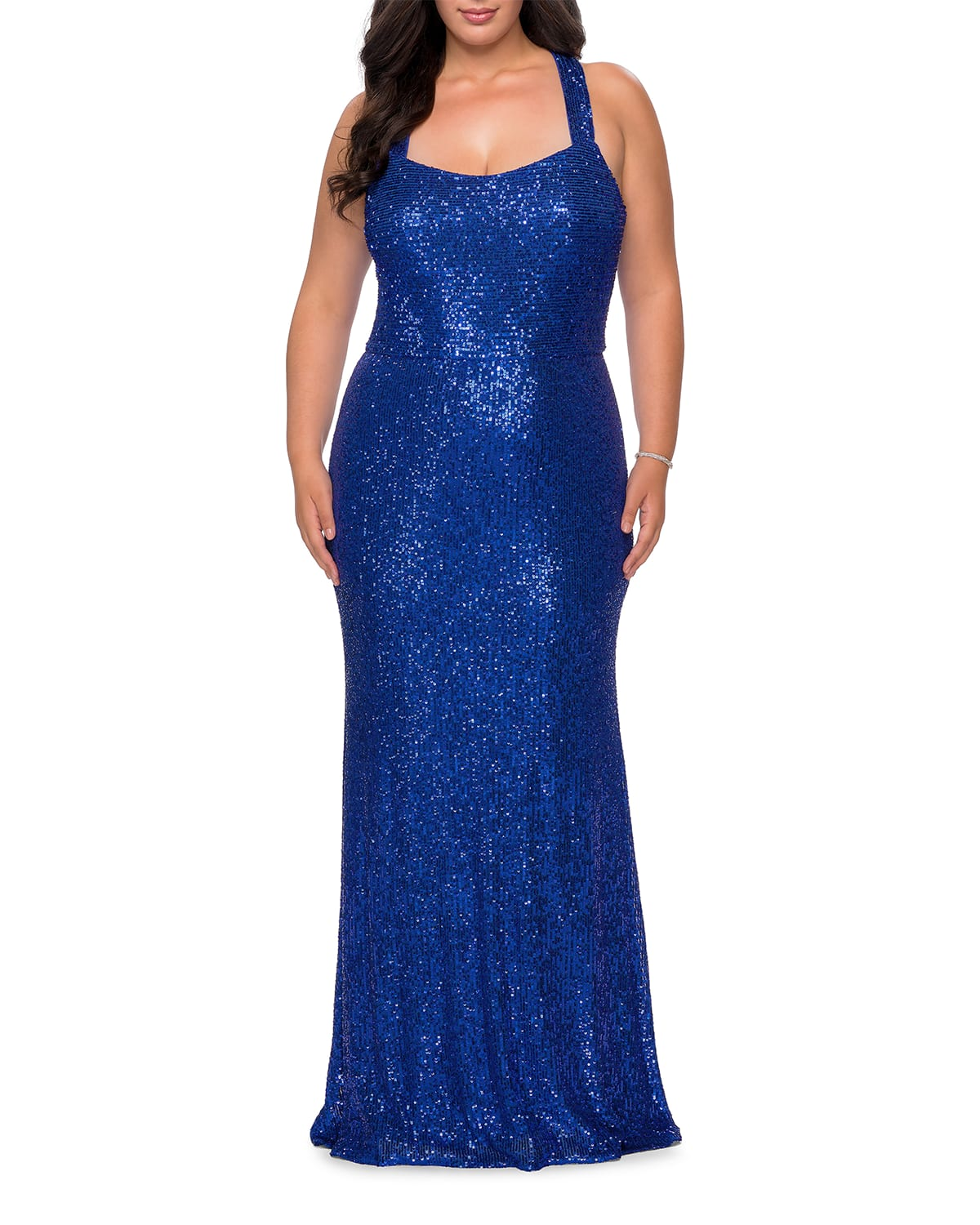 Plus Size Square-Neck Sequined Column Gown