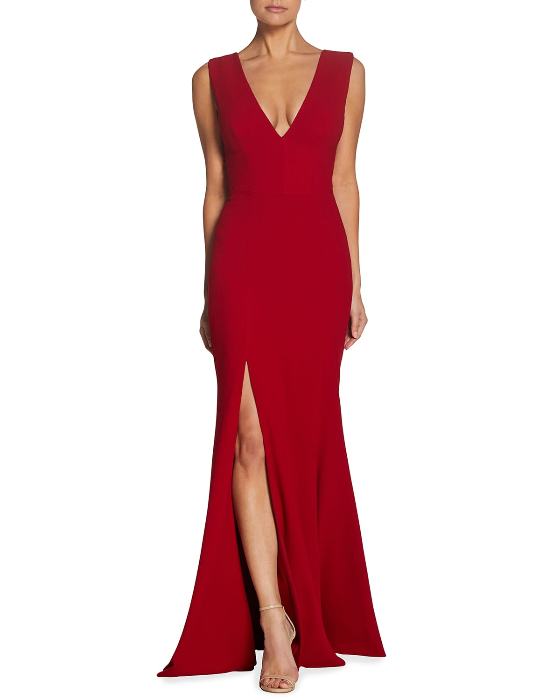 Sandra Plunging V-Neck Sleeveless Crepe Gown