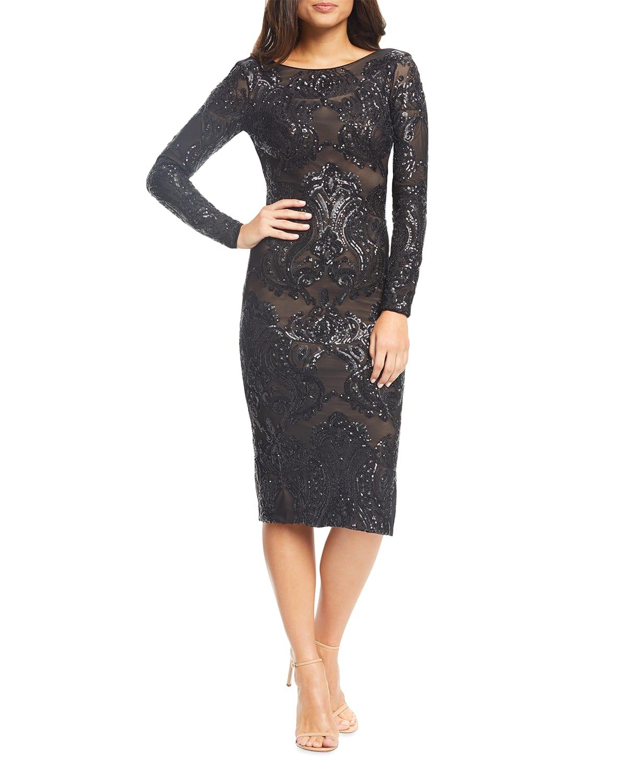 Emery Sequin Embellished Long-Sleeve Bodycon Dress