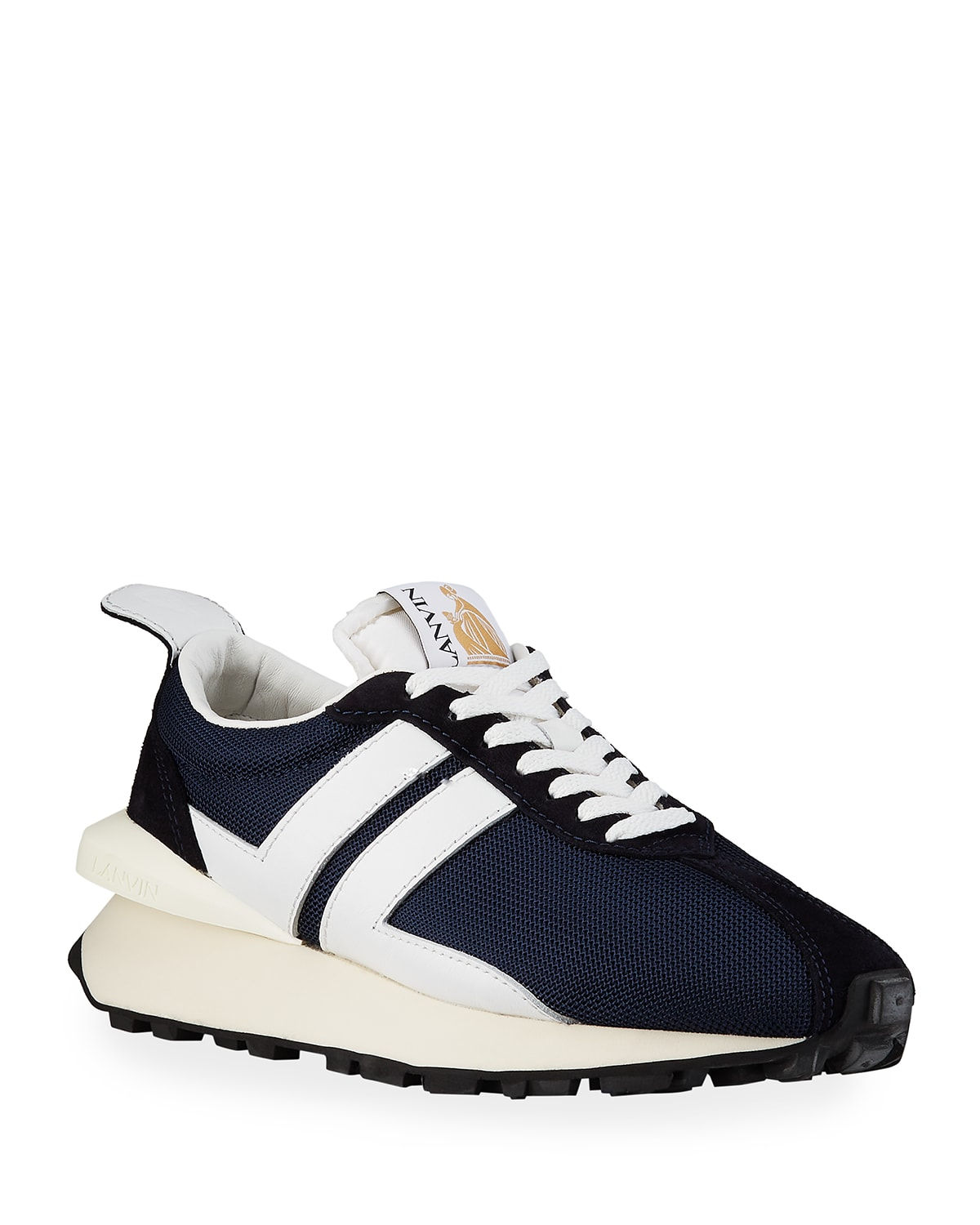 Men's Tricolor Suede-Leather Low-Top Sneakers