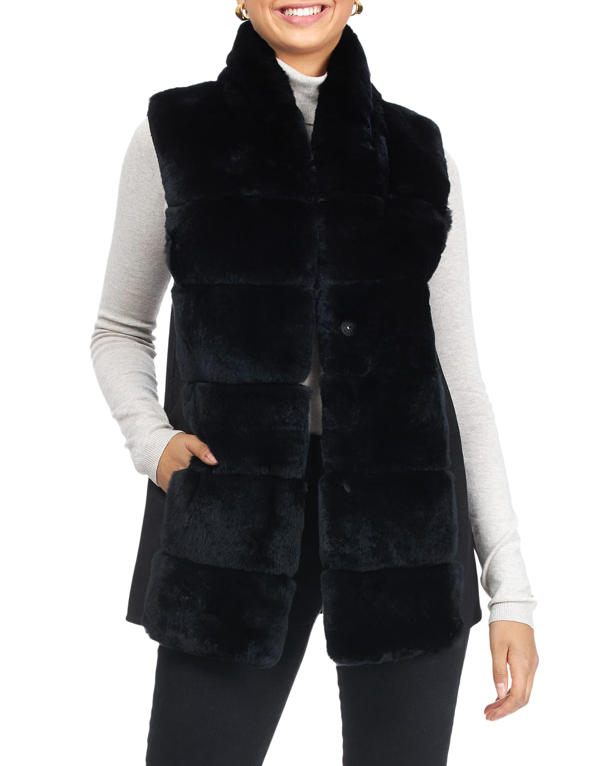Reversible Rex Rabbit Vest with Wool Back and Belt