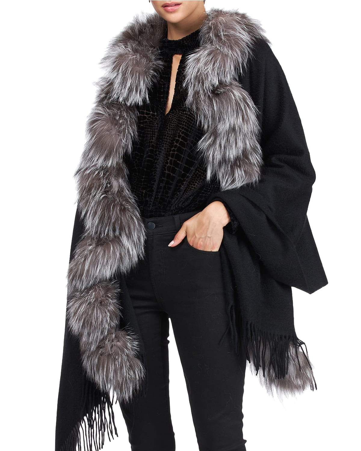 Cashmere Stole With Silver Fox Fur Ruffle