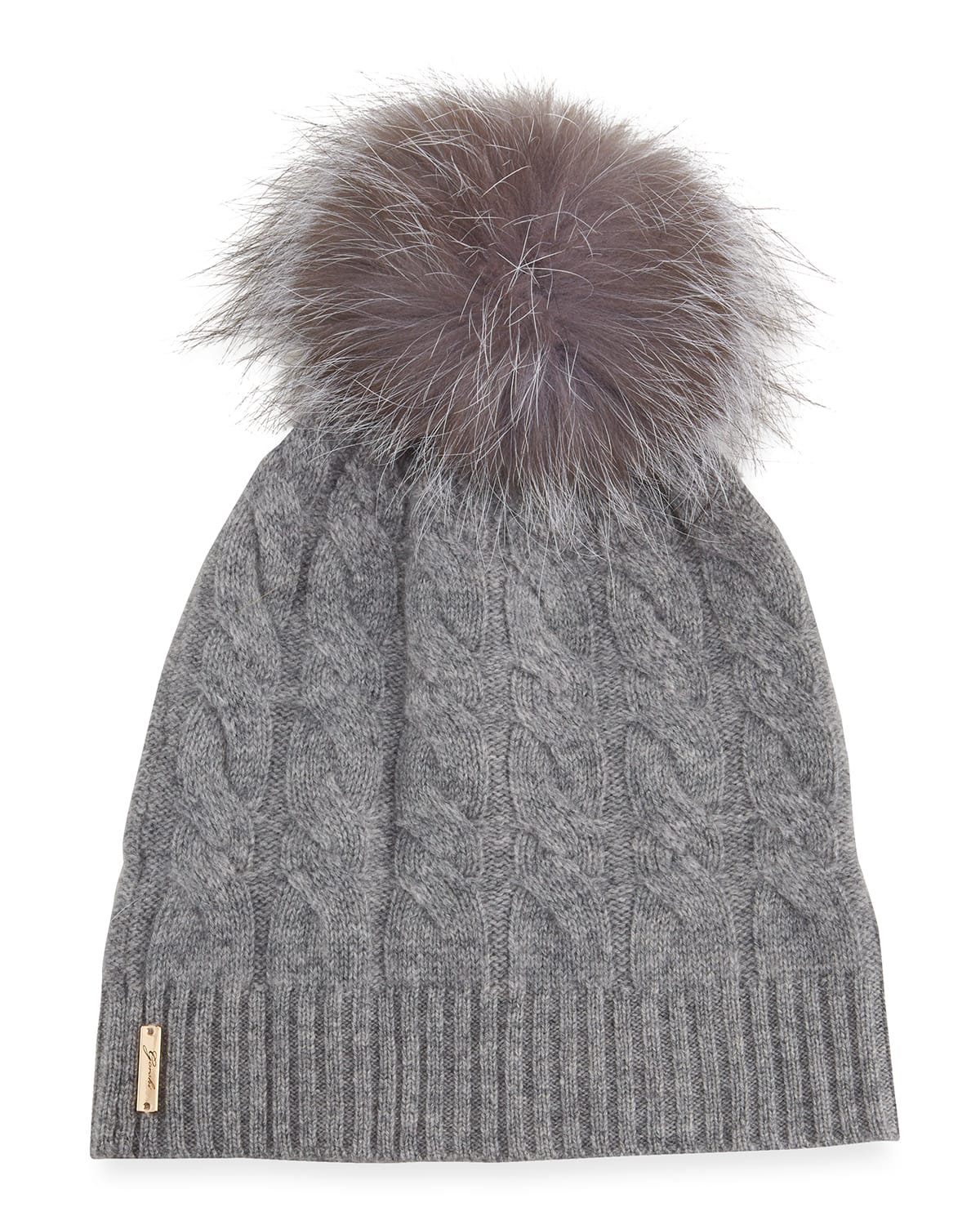 Cashmere Cable-Knit Beanie with Fur Pompom