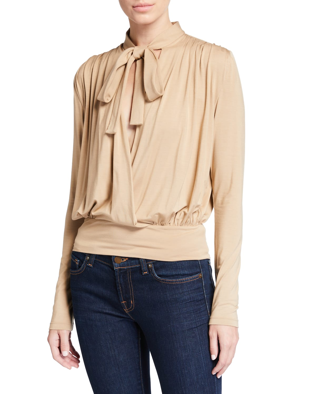 Ava Tie-Neck Drape-Back Jersey Top