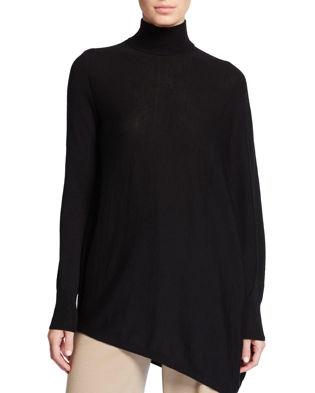 Liz Asymmetric Wool Turtleneck Sweater