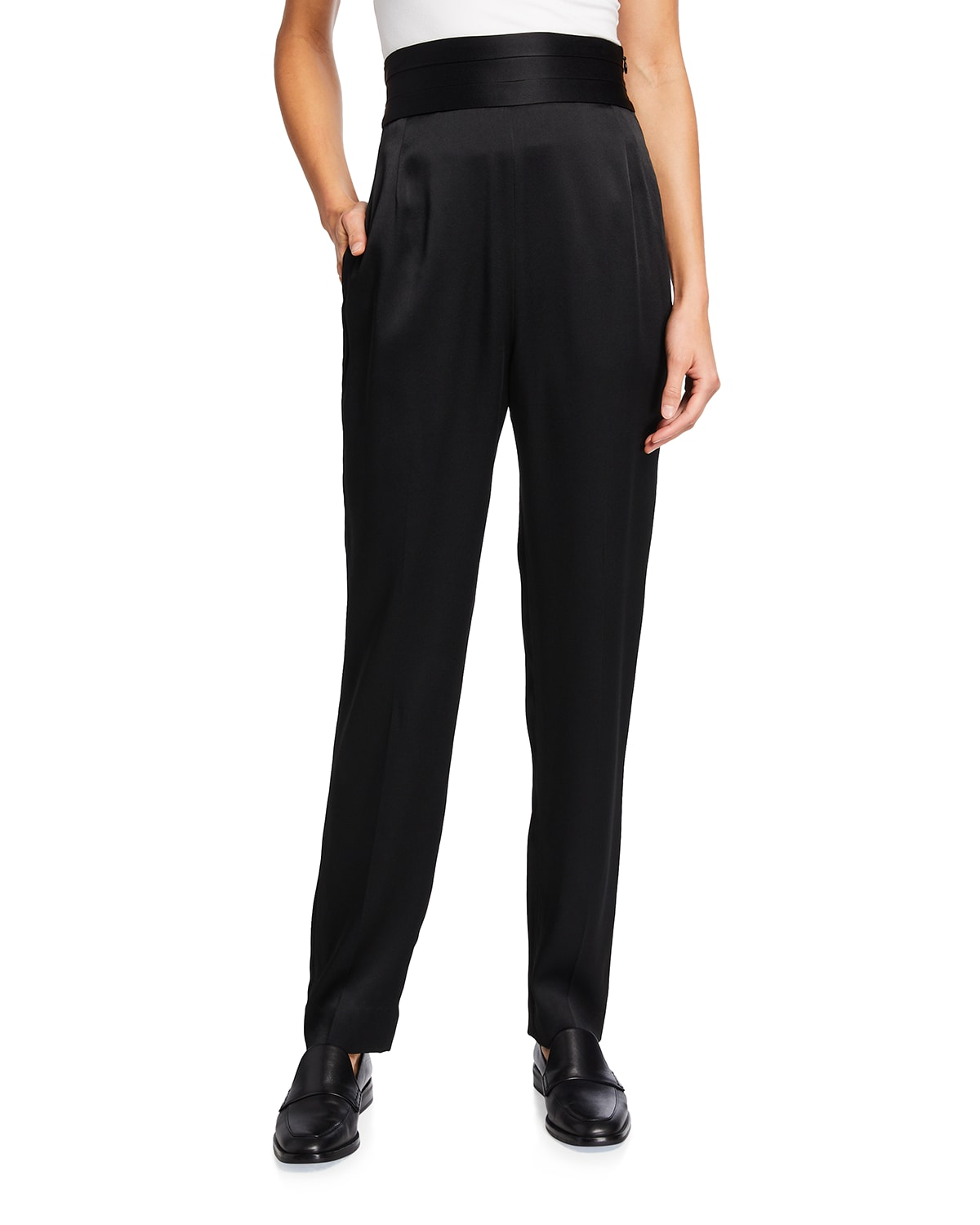 Solid Crepe Satin High-Rise Pants