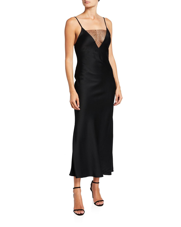 Illusion V-Neckline Satin Dress