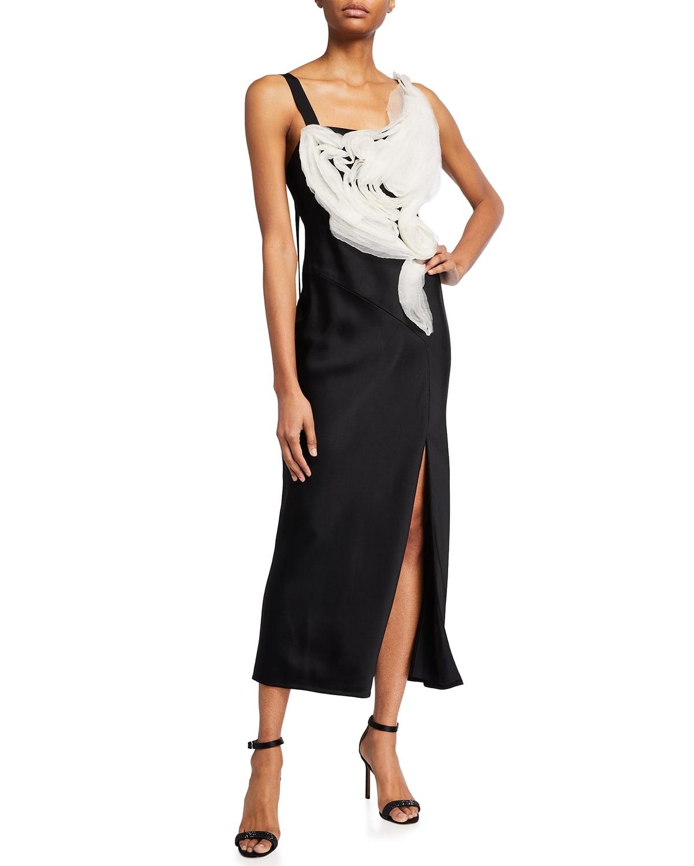 Satin Organza Trim Midi Dress