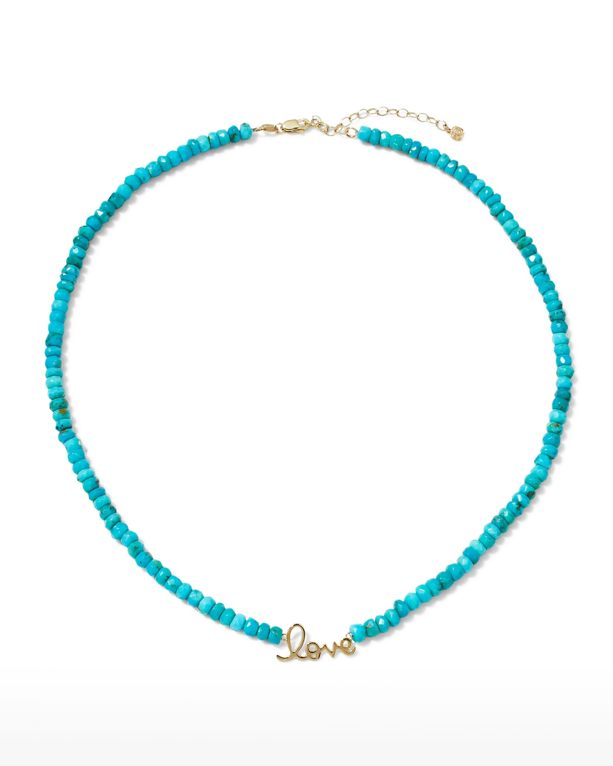 Pure Love 14k Yellow Gold Turquoise Beaded Necklace