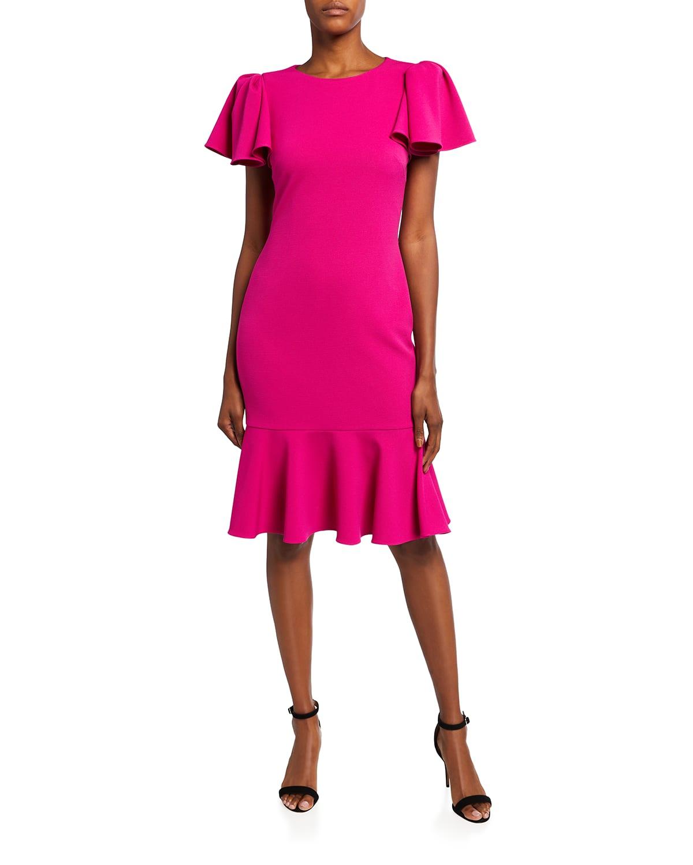 Flutter-Sleeve Flounce Hem Scuba Dress