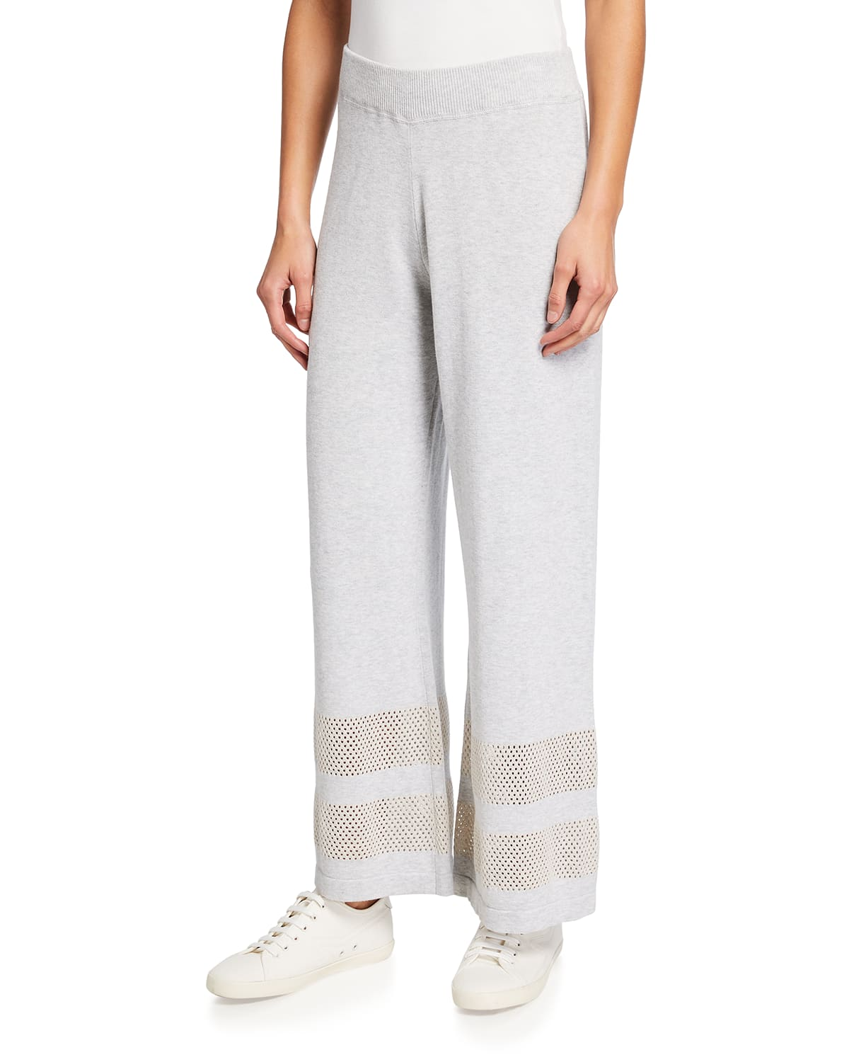 Wide-Leg Pull-On Pants with Mesh Stripe Inserts