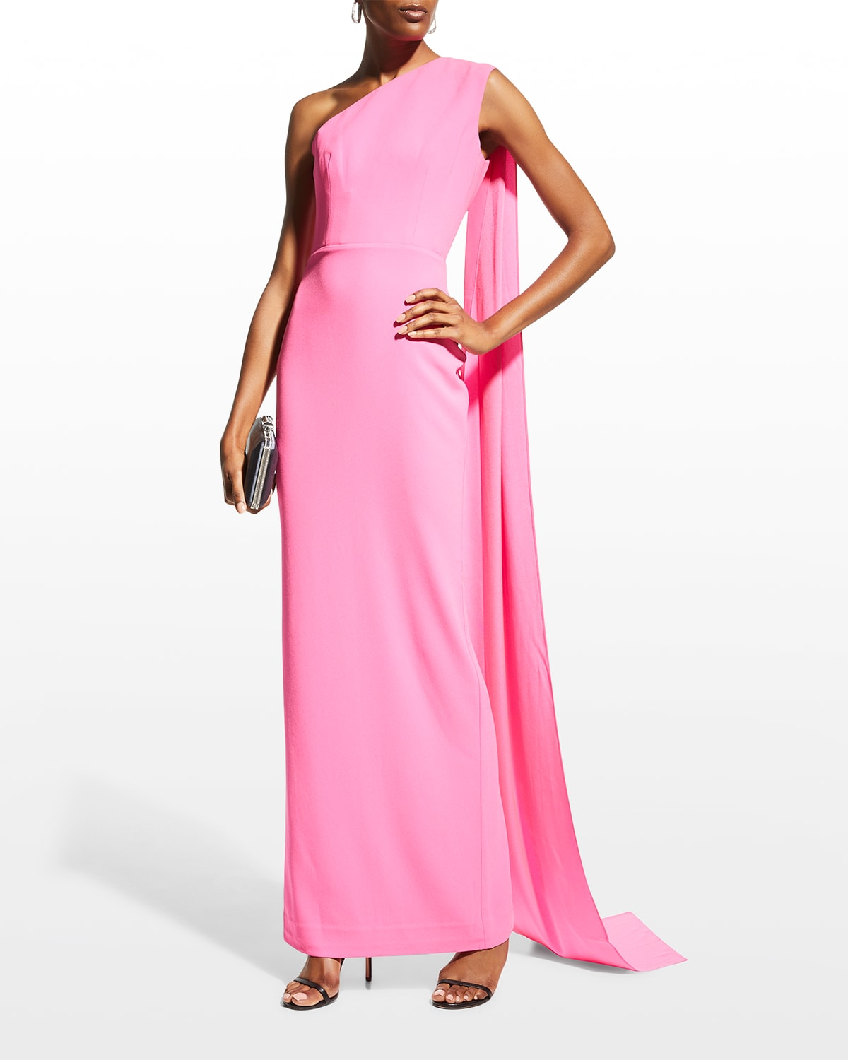 Jude Draped One-Shoulder Column Gown