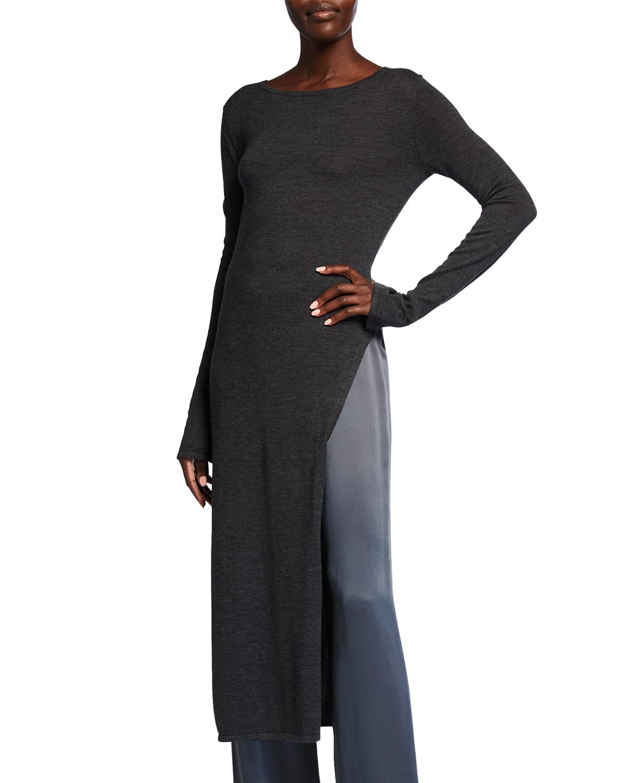 Wool-Blend Long Side-Slit Tunic Top