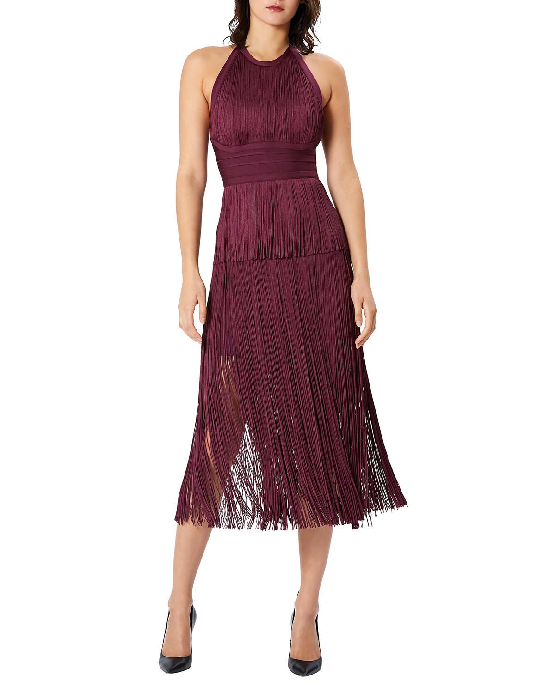 Halter-Neck Fringe Gown