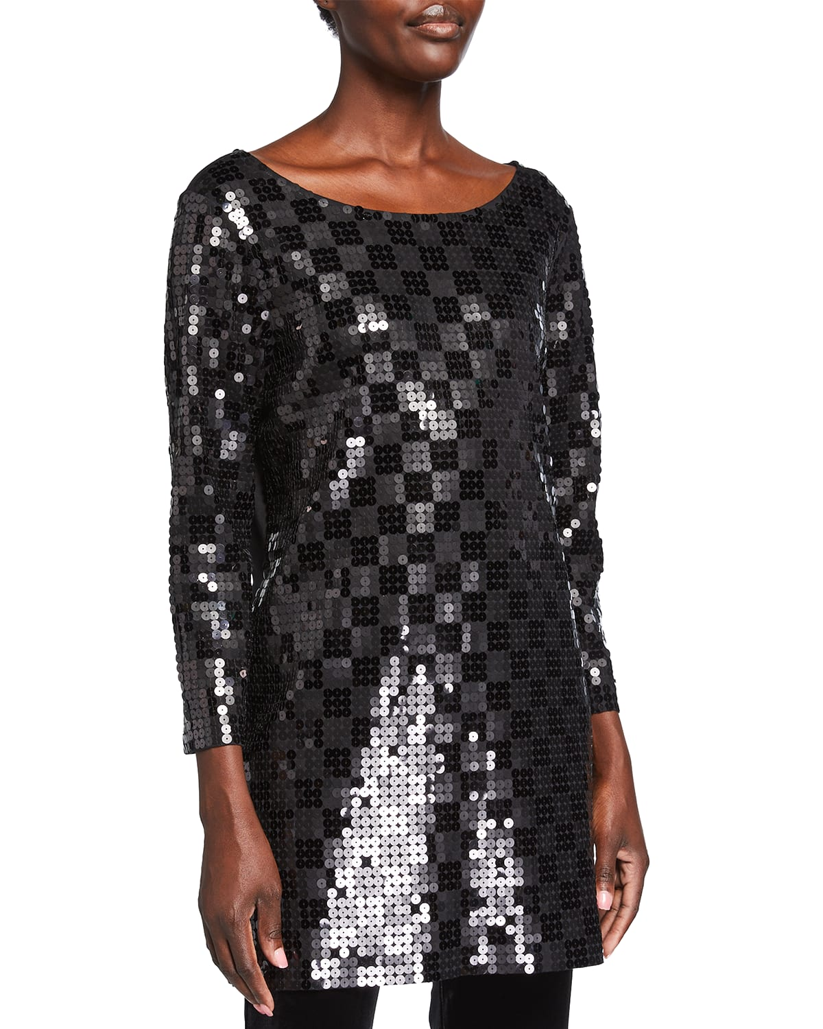 Sequined Squares Boat-Neck Tunic
