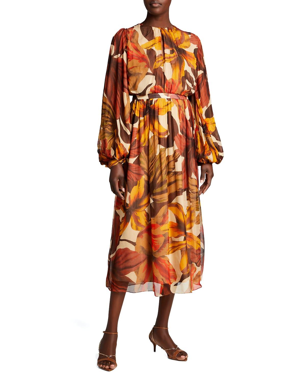 Vida Mia Floral-Print Viscose Crepe A-Line Dress