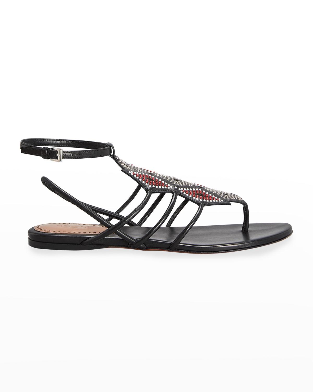Beaded Gladiator Flat Thong Sandals