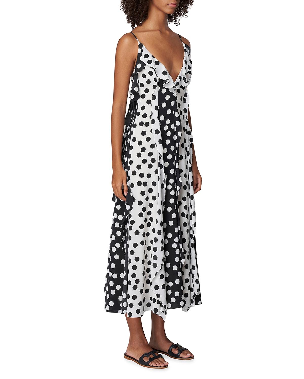 Polka Dot Ruffle Midi Dress