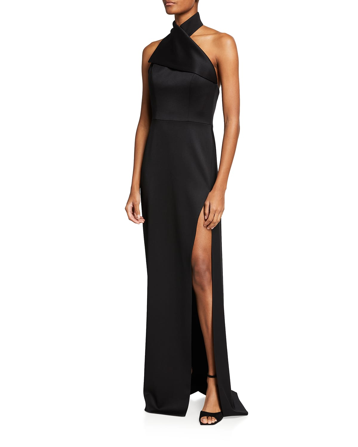 Draped Wool Halter-Neck Gown