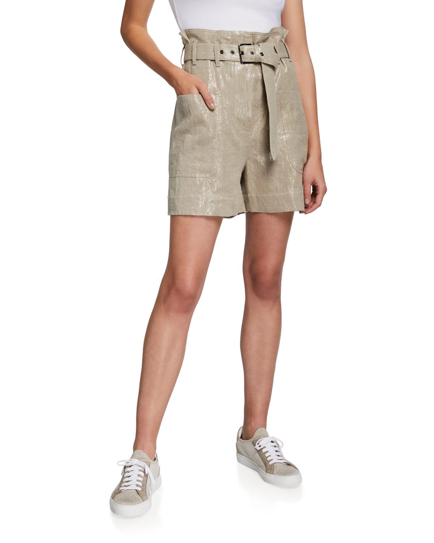 Linen Belted High-Rise Paperbag Shorts