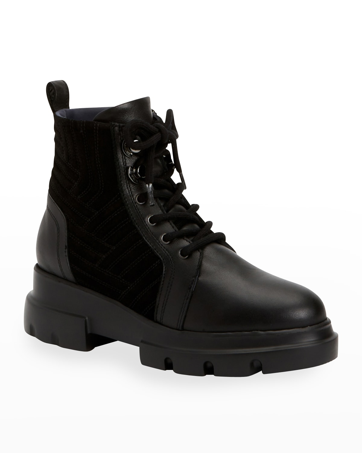 Kaylynn Mixed Leather Combat Booties