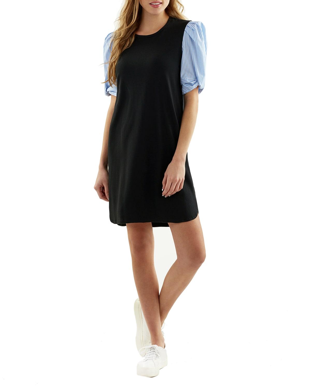 Julep Knit Dress with Poplin Sleeves
