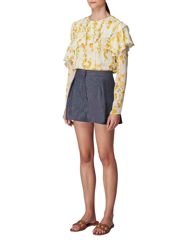 Floral Ruffle-Sleeve Silk Blouse