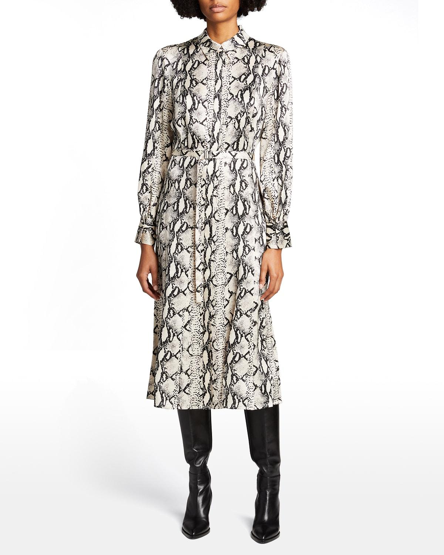 Plastron Animal-Print Silk Belted Shirtdress