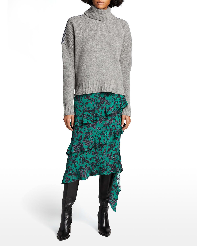 Turtleneck Contrast-Stitch Wool Sweater