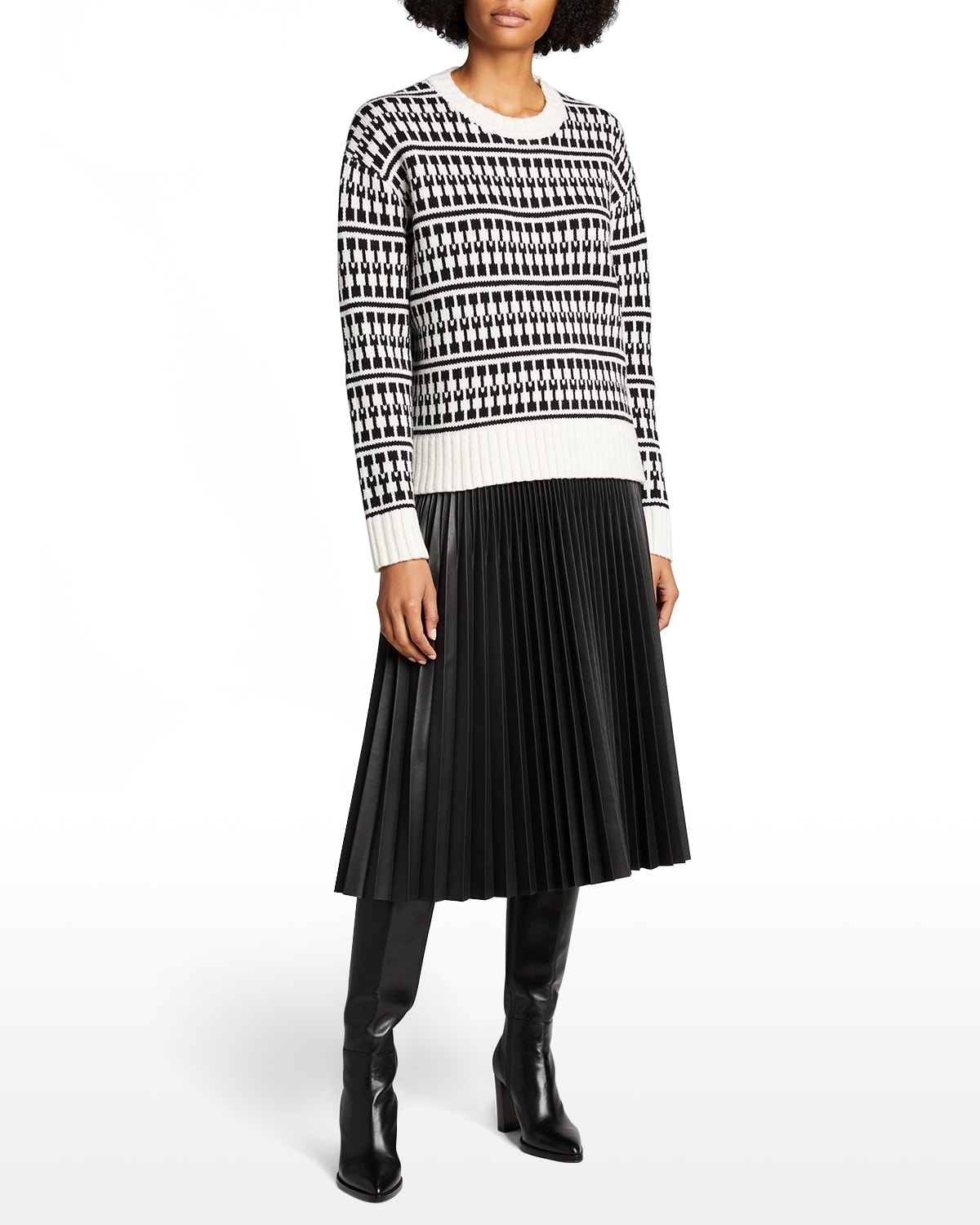 Wool-Blend Bicolor Graphic Sweater