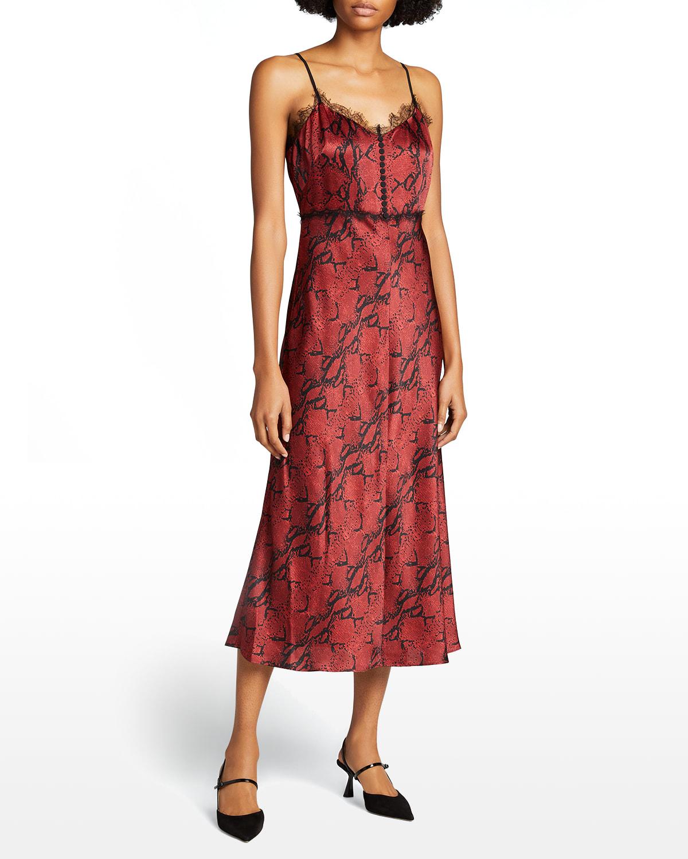 Python-Print Lace-Trim Slip Dress