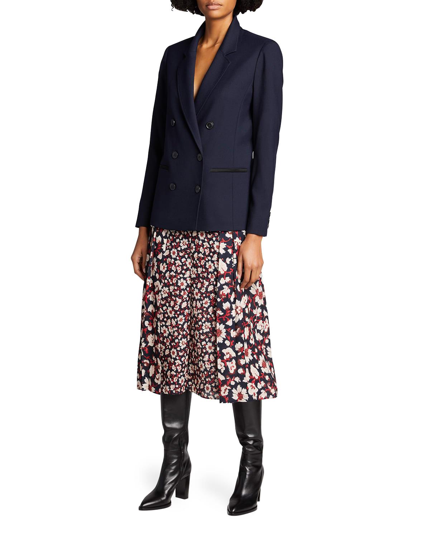 Floral-Print Front-Fold Midi Skirt