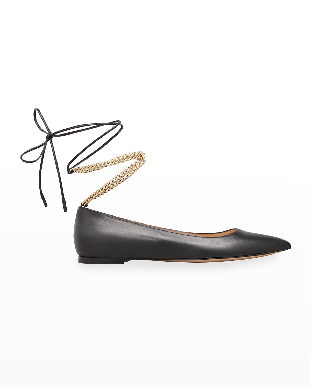 Napa Chain Ankle-Tie Ballerina Flats