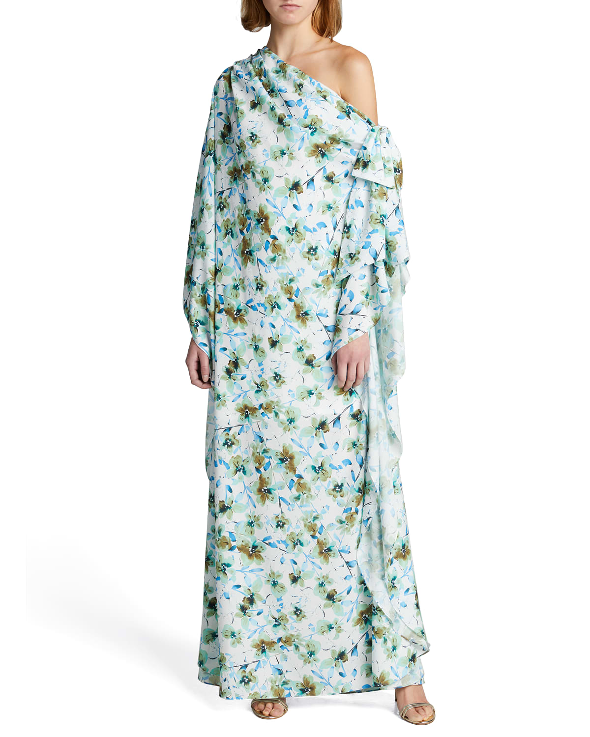 Reo Floral One-Shoulder Caftan Gown