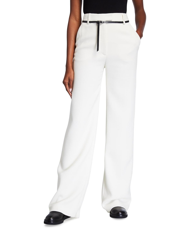 Wide-Leg Belted Wool Pants