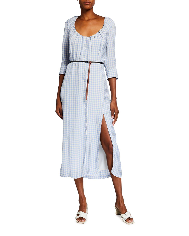 Gingham Print Belted Midi Dress