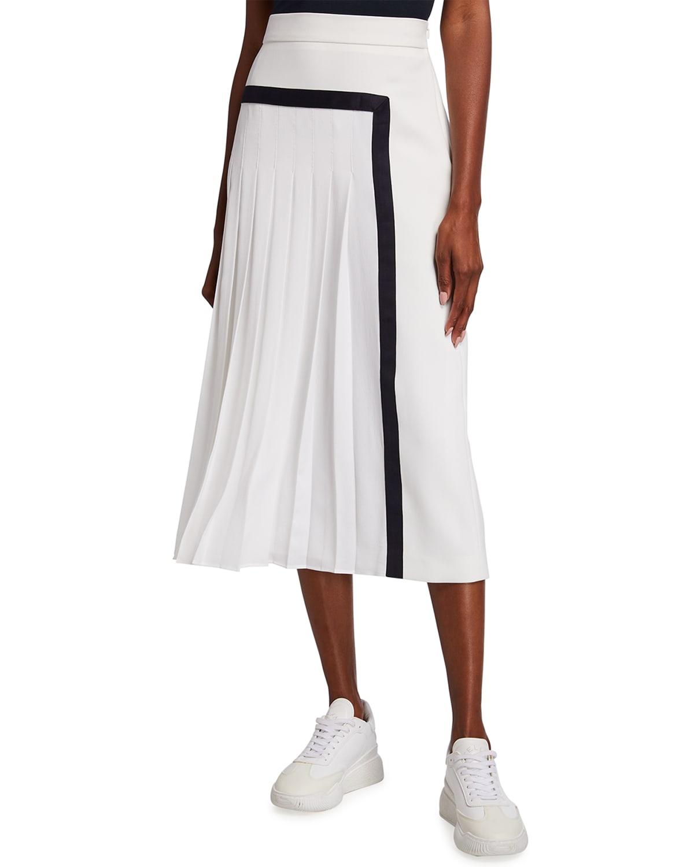 Pinne Contrast-Trim Box Pleated Midi Skirt