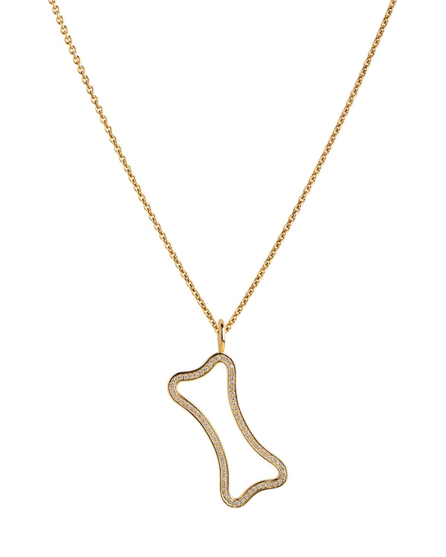 14k Small Hollow Diamond Dog Pendant Necklace