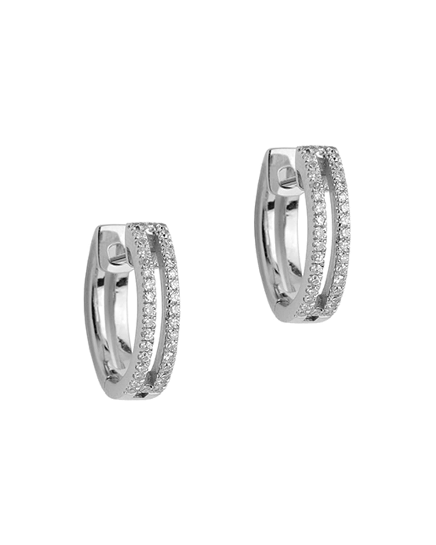 14k Mini Open Bar Diamond Huggie Earrings