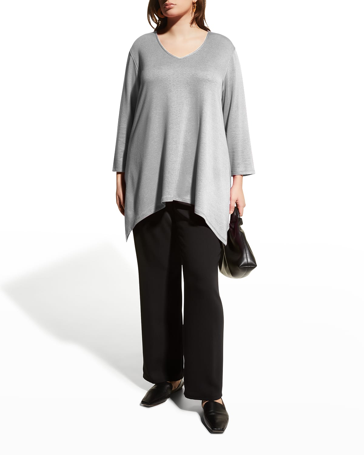 Plus Size French Terry V-Neck Swing Tunic